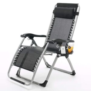 Portable Easy Folding Reclining and Zero Gravity Lounge Steel Chair, Black