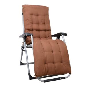 Portable Zero Gravity Recliner Chair with Cushion Pad, Coffee Brown