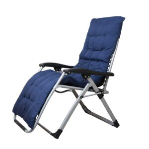 Portable Zero Gravity Recliner Chair with Cushion Pad, Navy Blue